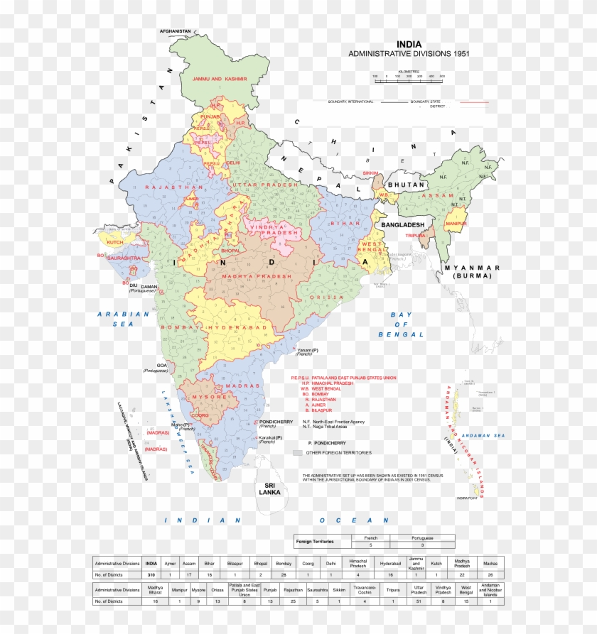 States Reorganisation Commission - Indian States In 1950, HD Png Download #2103120