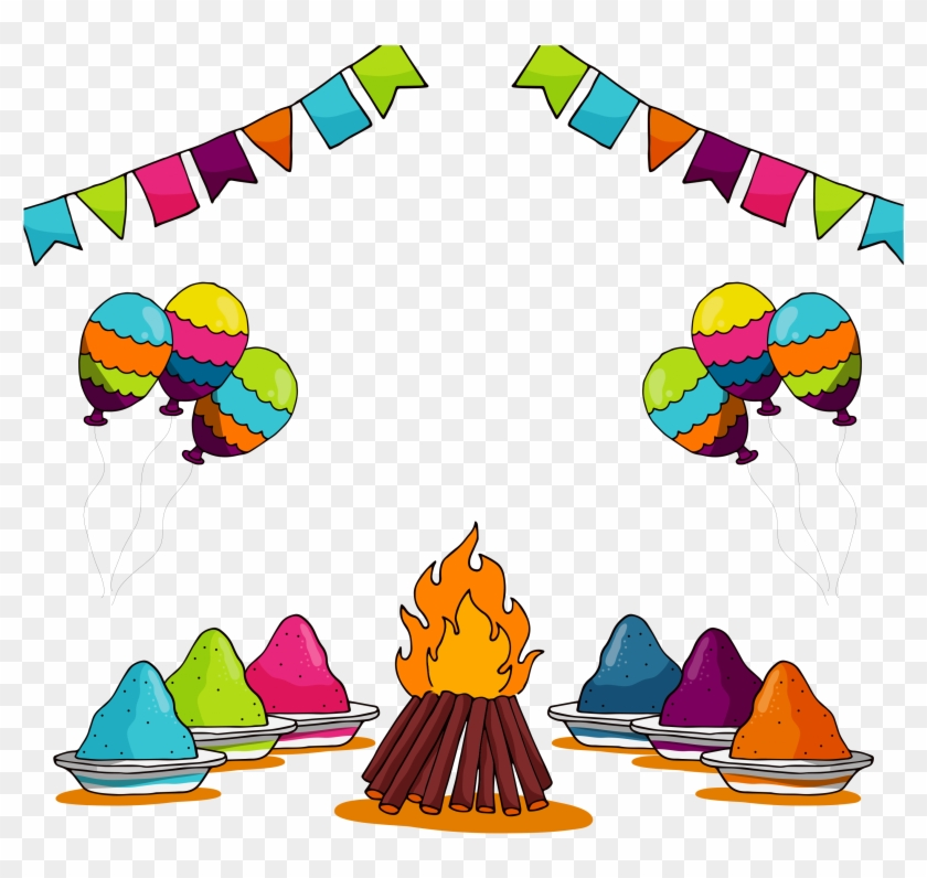 Illustration Of Set Of Holi Element With Colors - Holi Festival Clipart #2125510
