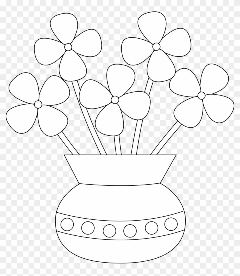 28 Collection Of Flower Vase Drawing Step By Step - Simple Flower Vase Drawing Clipart #2128344