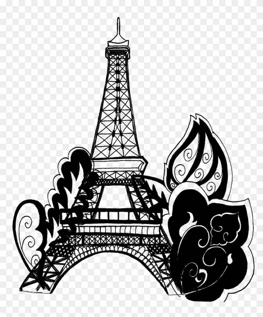 Eiffel Tower Silhouette Png Background Image - Paris Eiffel Tower Coloring Pages Clipart #2147491