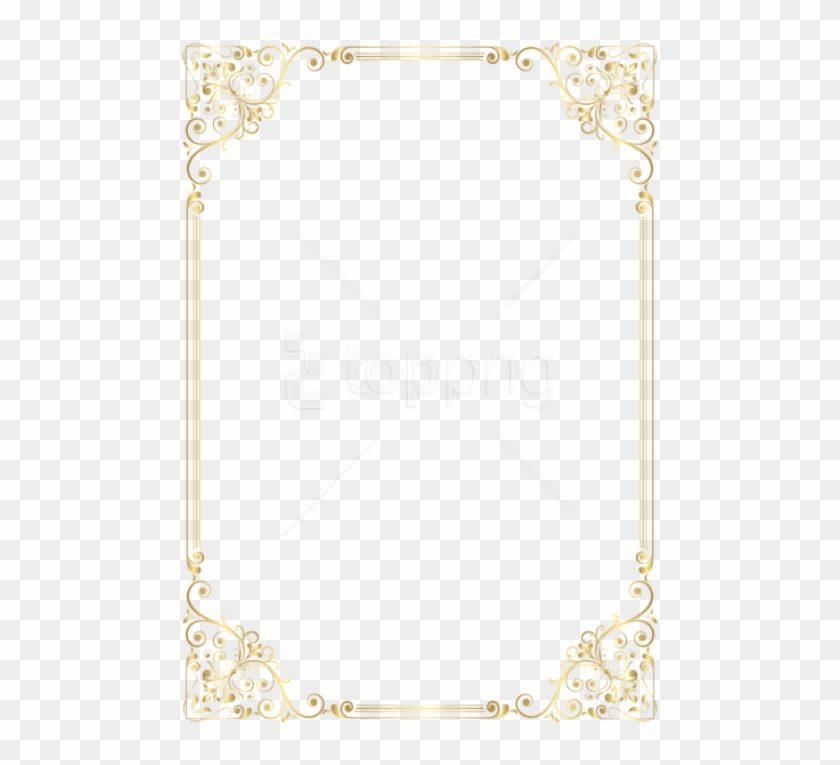 Deco Frame Border Golden Png - Vintage Border Design Portrait Clipart #2149864