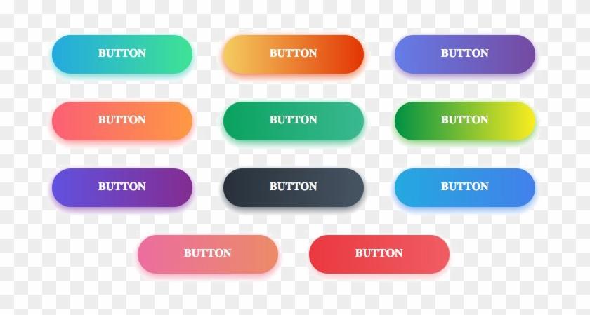 Gradient Button Download Transparent Png Image - Button Gradient Blue Png Clipart #2158991