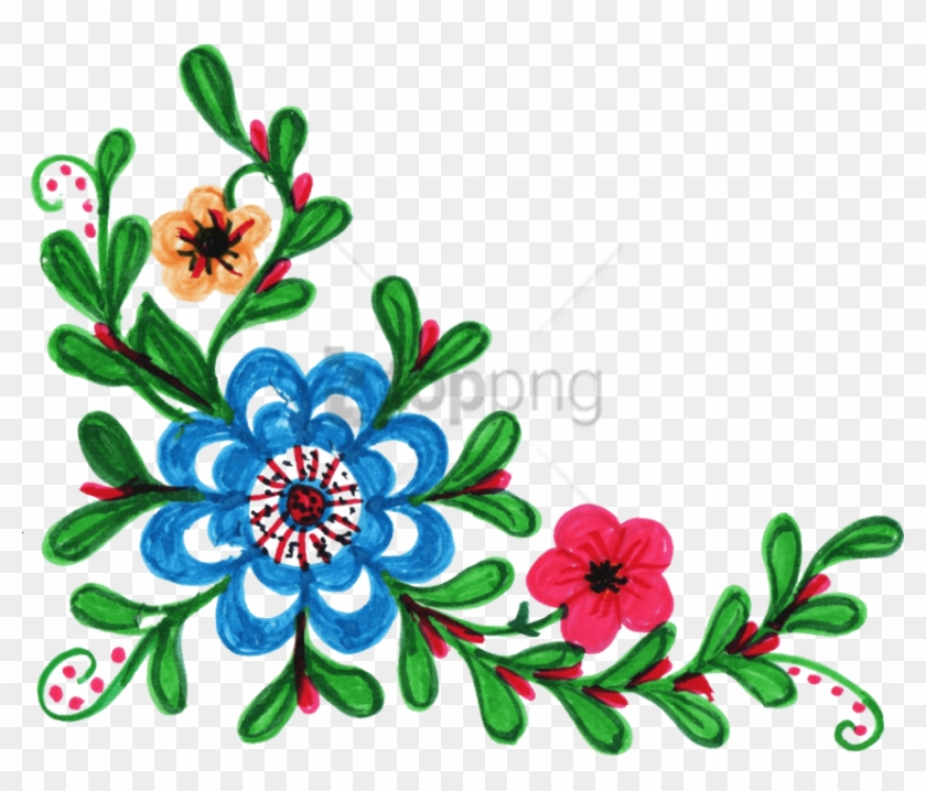 Free Png Download Colorful Floral Corner Borders Png
