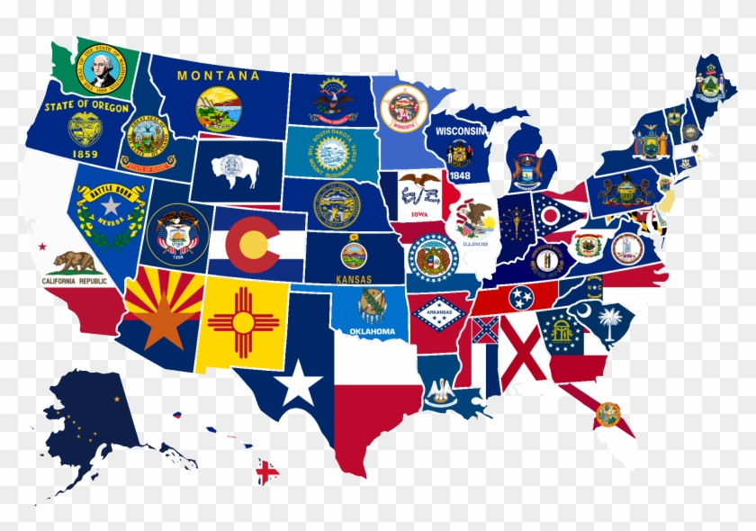 869kib, 2000x1333, Us Map With State Flags Project - March Madness Map 2019 Clipart #2194276