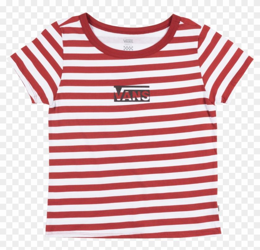 Vans Off The Wall Stripe Skimmer T-shirt Red White - Red And White Striped Vans Shirt Clipart #2194527