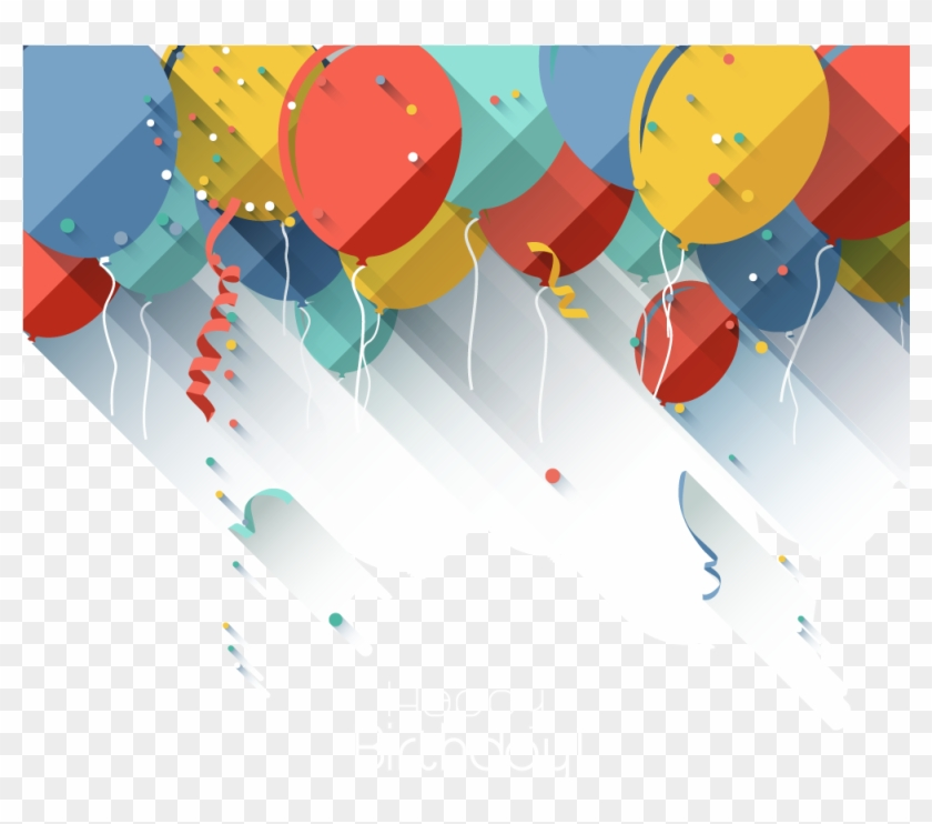 Jpg Black And White Download Baloon Vector Balloon - Birthday Card Flat Design Clipart #2206261