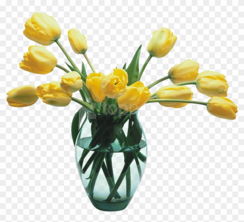 Free Png Download Glass Vase With Yellow Tulips Png - Transparent Flower Vase Png Clipart #2233652