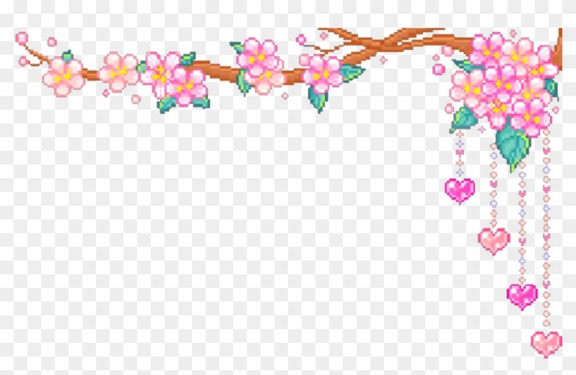 Cute Kawaii Pixels Adorable 8bit Sakura Cherryblossoms