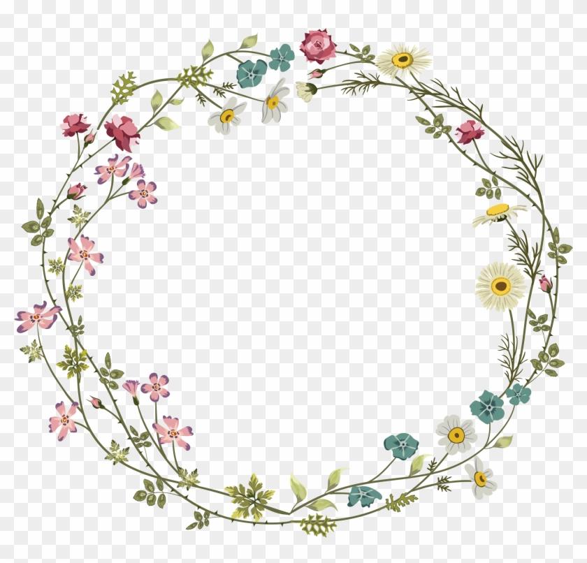 Colourful Flower Frame - Floral Border Design Circle Clipart #2293493