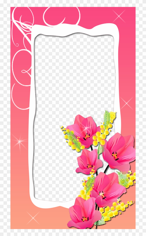 Lovely Pink Flower Frame - Цветы Вектор Clipart #2294257