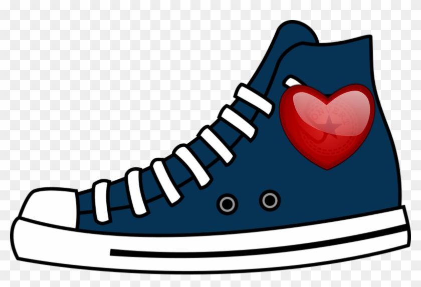 Converse High Top Chuck Taylor All Stars Sports Shoes - Transparent Cartoon Shoe Png Clipart #2304034