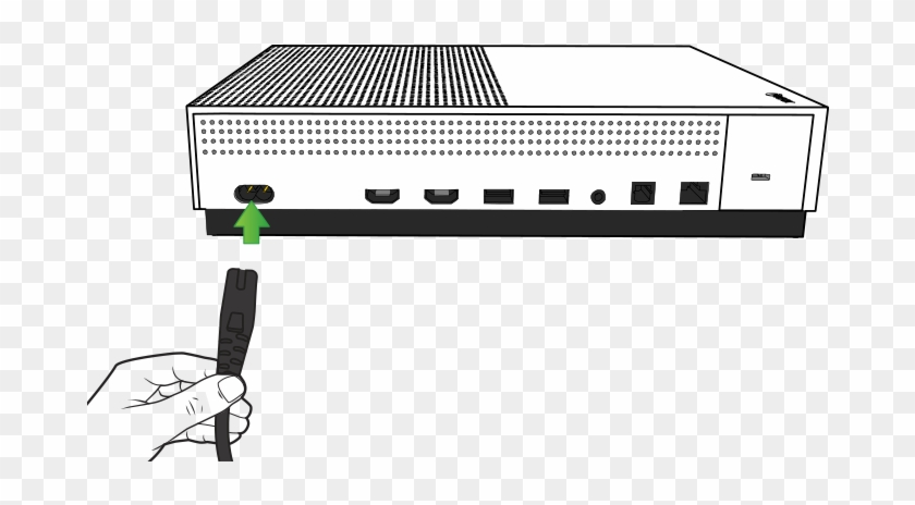 Illustration Of The Back Of The Xbox One S Console - Xbox One X Plug Into Wall Clipart #2332003