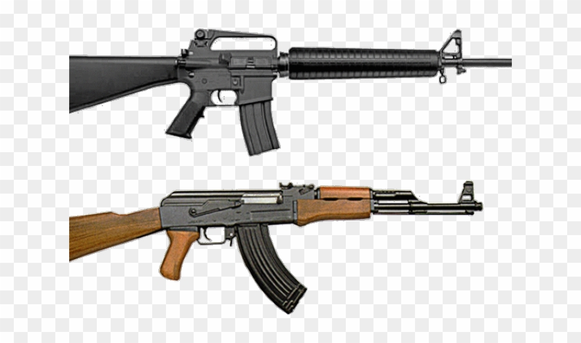 Ar-15 Cliparts - Ak 47 And M16 - Png Download #2338145