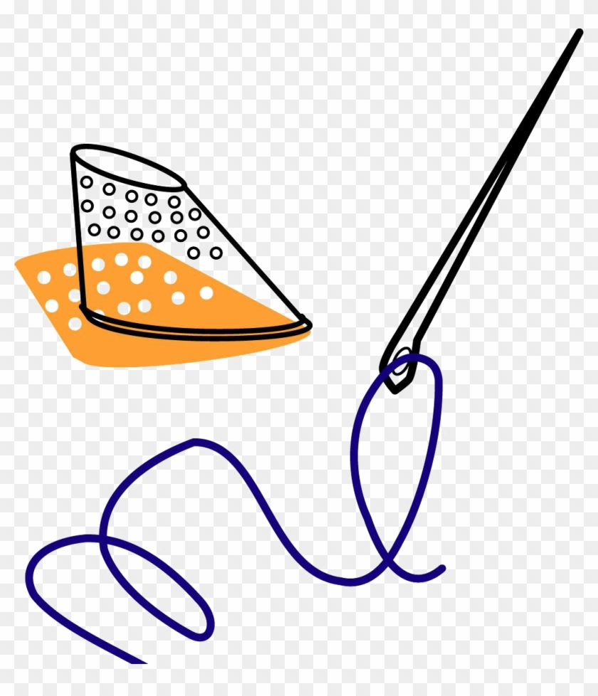 Sewing Yarn Clip Art Hand Painted Handpainted - Needle And Thread - Png Download #2341749