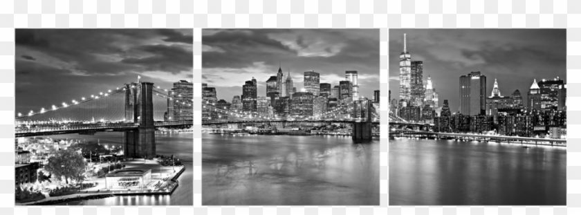 New York Skyline In Black And White 3 Piece Wall Decor New