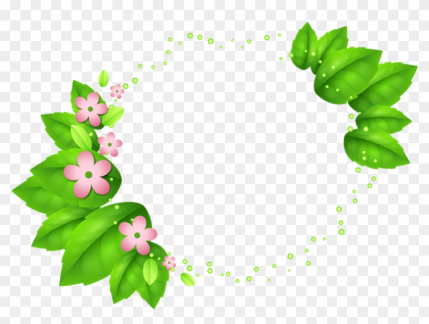 #green #leaf #circle #circleframe #frame #border #circleborder - Flowers Decoration With Transparent Background Clipart #2363166