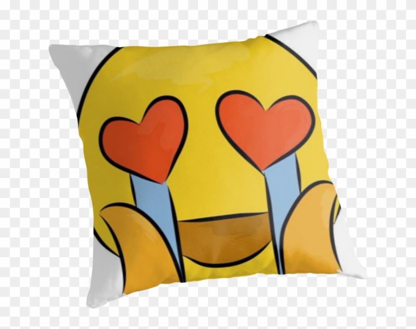 """crying Heart Eyes Emoji "" Throw Pillows - Cushion Clipart #2369188"