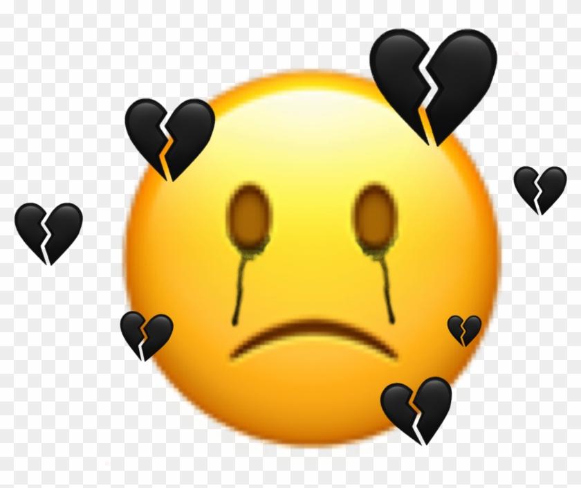 Freetoedit Sticker Emoji Sad Broken Black Mood Smiley Clipart #2389067