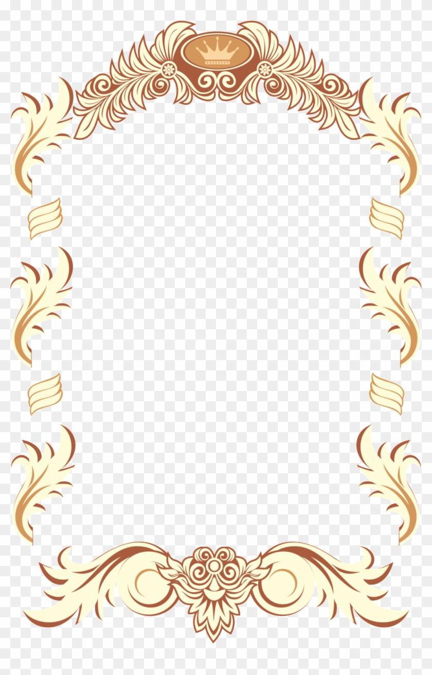 Creative Lace Border Png Element - Golden Vintage Barok Frame Clipart #244140