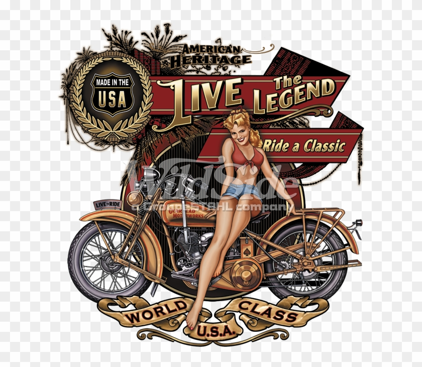 American Heritage, Live The Legend, Ride A Classic, - Biker Babe Motorcycle T Shirt Clipart #246891