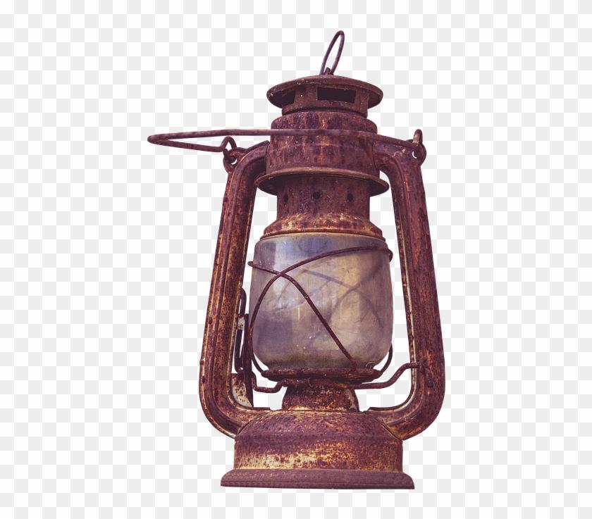 Kerosene Lamp, Lamp, Old, Wire Mesh, Light, Lantern - Transparent Vintage Weathered Sconce Png Clipart #249388