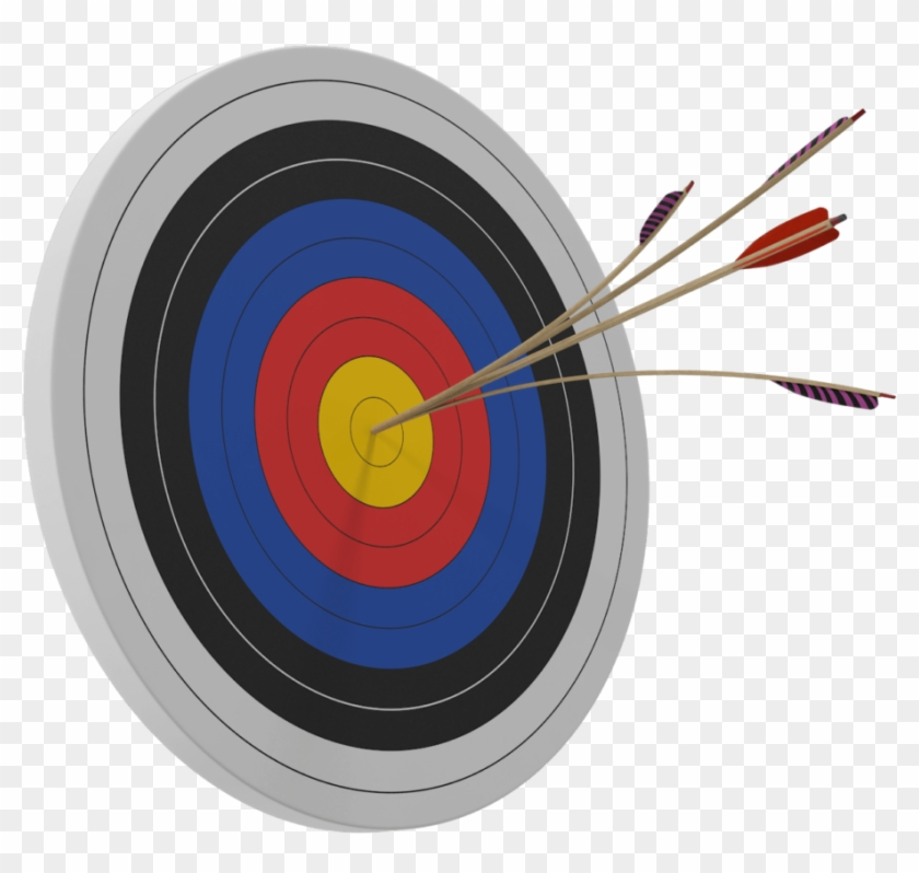 Target Bulls Eye - Split Arrow On Target Clipart #2412955
