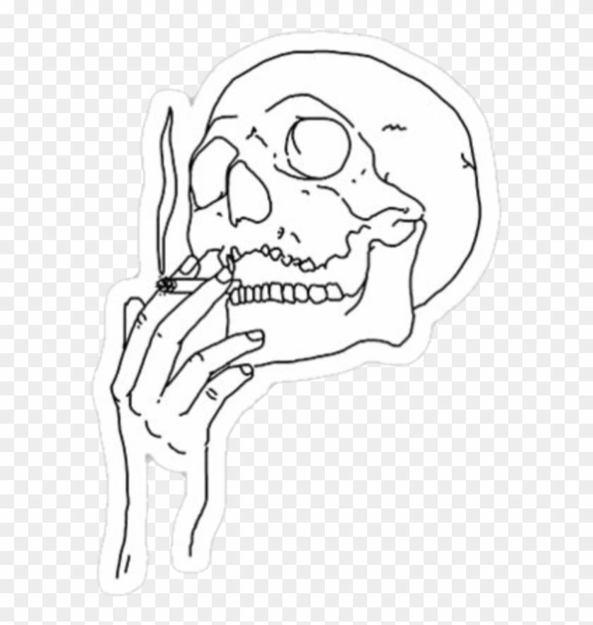Stickers Sticker Skull 420 Smoke Trippy Weed - Pink Skeleton Smoking Clipart #2425653