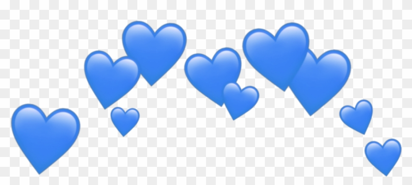 Blue Blueheart Hearts Heart Emoji Emojis Sticker Blueem - Black Heart Emoji Crown, HD Png Download #2463753