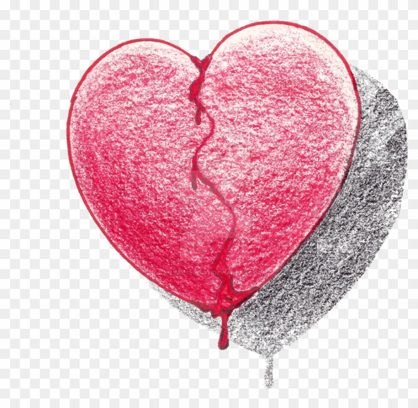 Razor Drawing Bleeding Love - Broken Bleeding Heart Drawing Clipart #2482671
