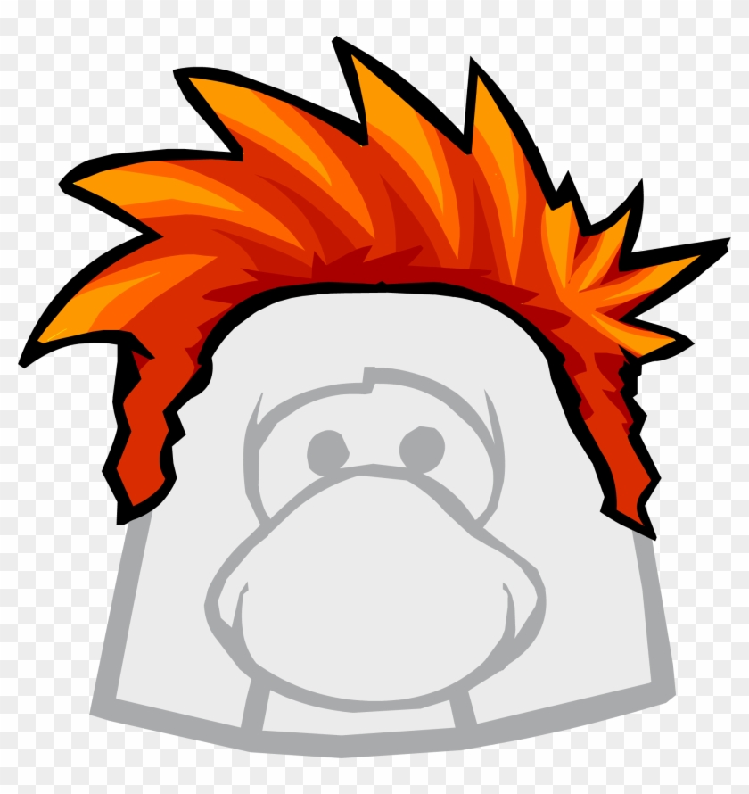 Red Hair Clipart Club Penguin - Club Penguin Hair - Png Download #2488490