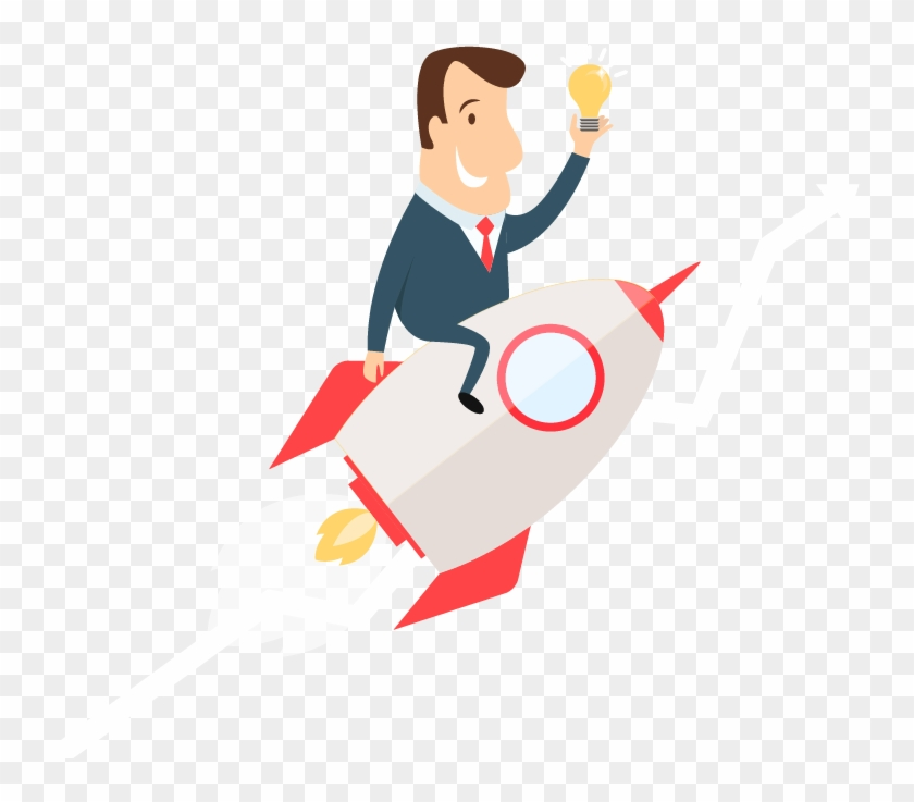 Our Goals Is Not Only To Deliver A Good Website But - Man On Rocket Cartoon Clipart #250202