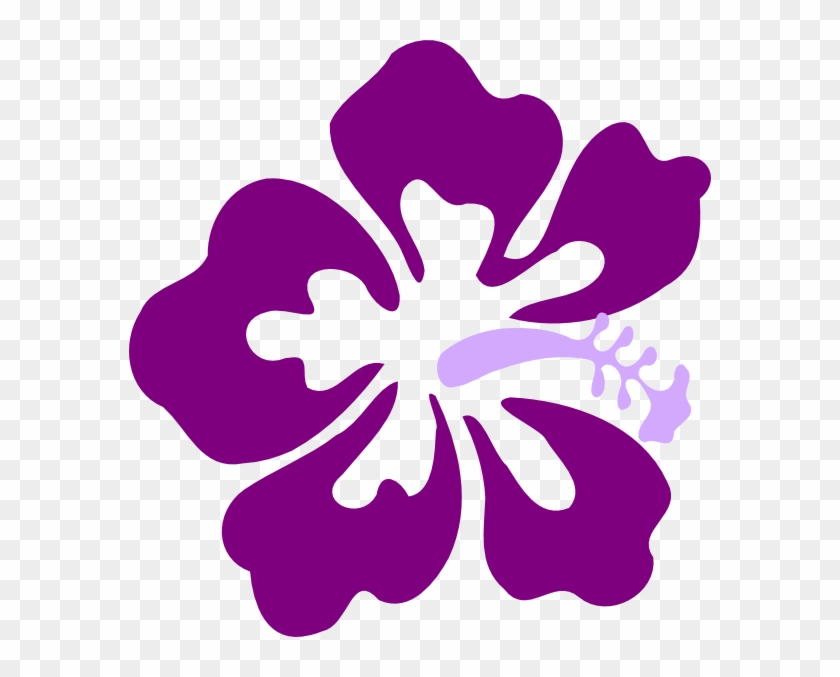 Purple Flowers Clipart Illustration - Black And White Hibiscus Flower Clip Art - Png Download #253008