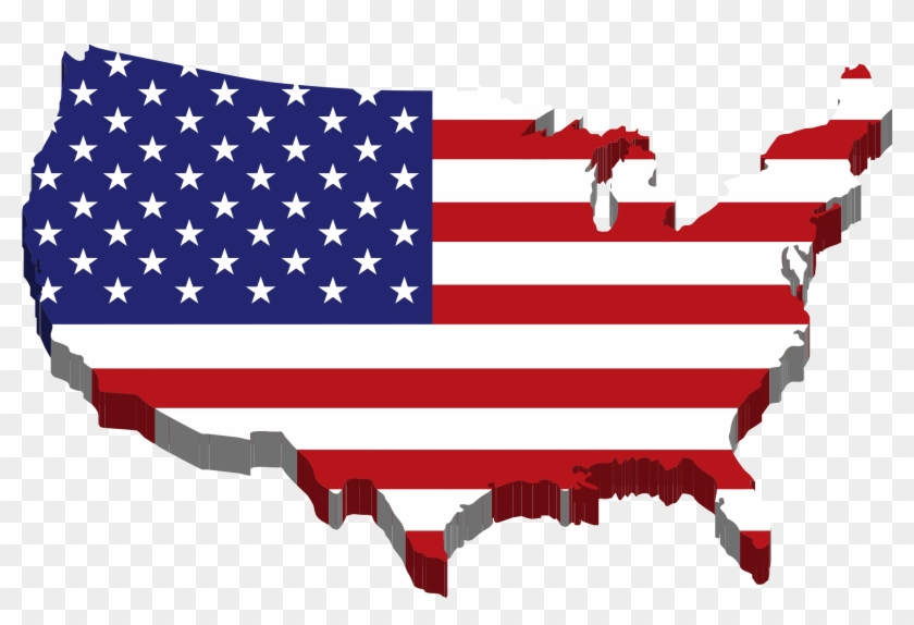 Pin Usa Clipart State Hd - United States Of America Map Flag - Png Download #255823