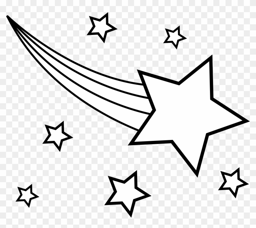 Shooting Star Clipart - Shooting Star Star Clipart Black And White - Png Download #258000