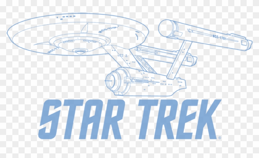 Star Trek Enterprise Outline Men's Slim Fit T-shirt - Star Trek Clipart #258952