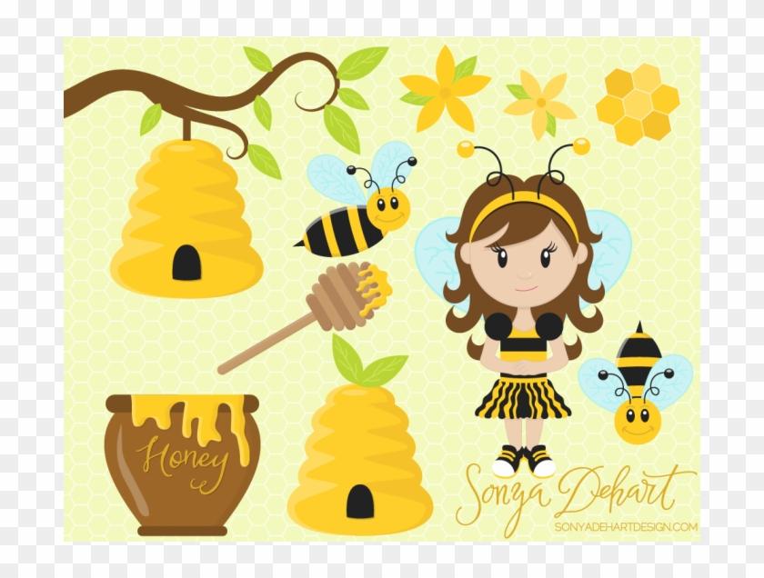 Honey Clipart Honeycomb - Bee Girl Honey - Png Download #259282