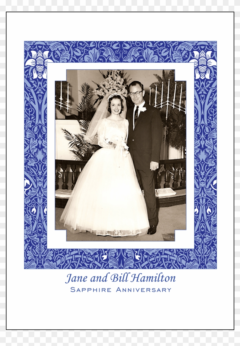 Cover Of 45th Sapphire Wedding Anniversary Party Invitation - 50th Wedding Anniversary Invitations Clipart #2516060