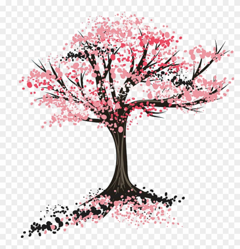 #sakura #tree#sticker - Cherry Blossom Tree Drawing Clipart #2524123
