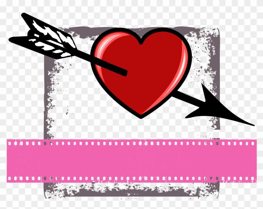 Valentine Heart Arrow Png Image - Imagen De Versos Romanticos Clipart #2557407