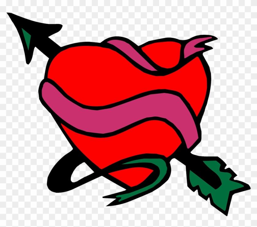 Cupid Bow Arrow Hearts, Heart With Ribbon And Arrow - Heart With Arrow Clipart #2557526
