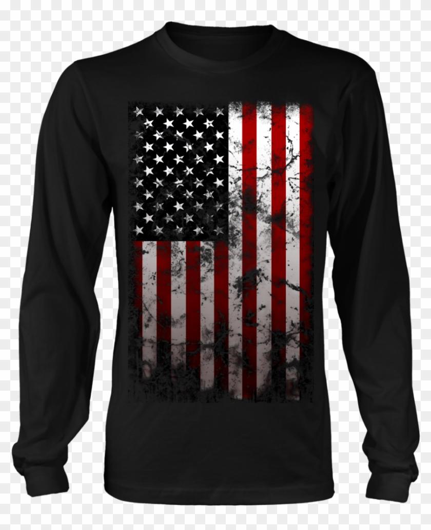 Vintage American Flag Long-sleeve Shirt, Merchant Of - Funny Christmas T Shirt Family Clipart #2604867