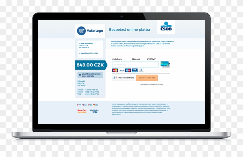 Online Card Payment With Čsob Is Secure - Insurance Mobile App Design Clipart #2606873