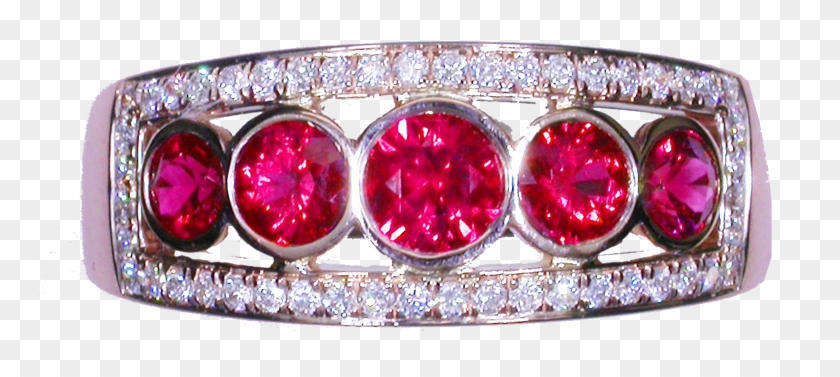 18ct Rose Gold Diamond And Ruby Ring - Engagement Ring Clipart #2613098