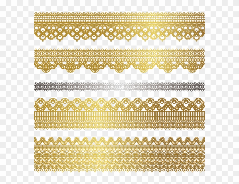 Tubes Deco Dentelle Wedding Lace Vector Png - Gold Side Border Designs Clipart #2653712