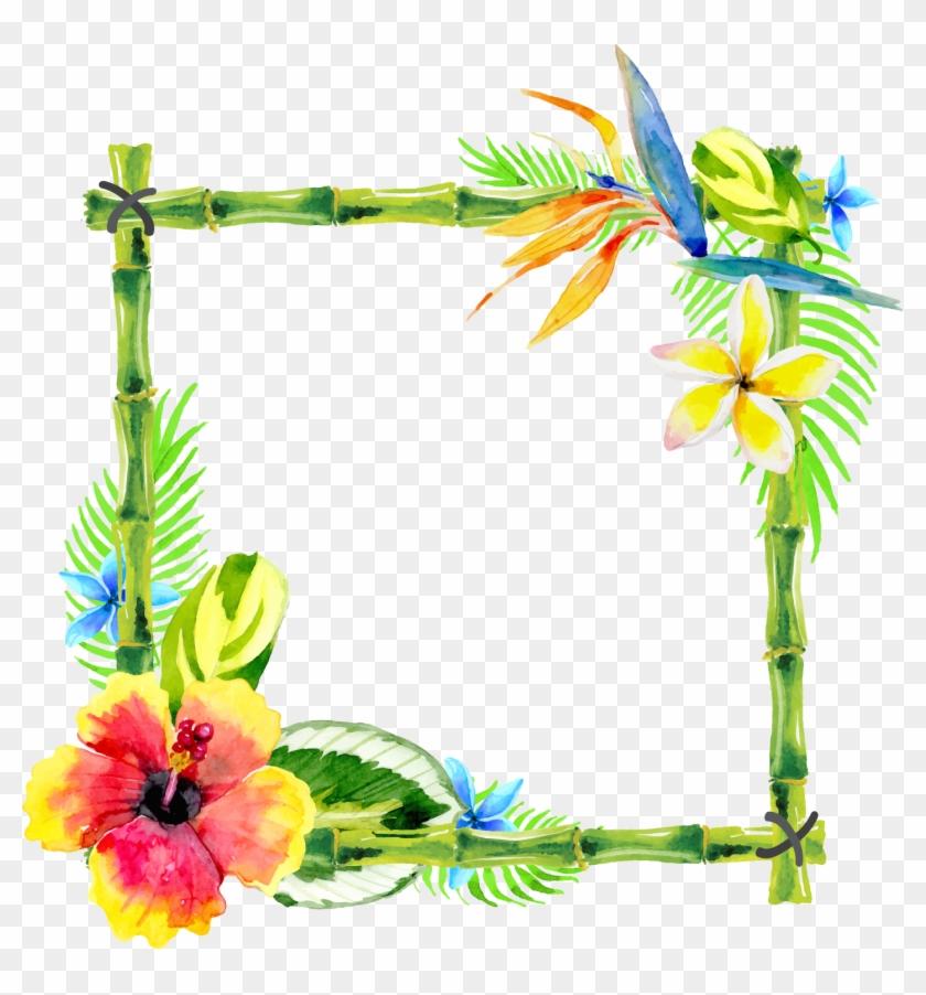 Bamboo Vector Design Border - Flower Paint Design Border Clipart #2664882