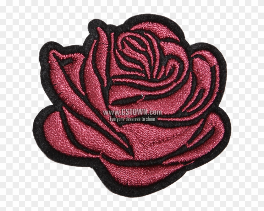 Rose I Love You Flower Motif Patch - Woven Fabric Clipart #2675049