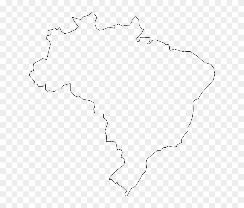 Brazil Map Vector Outline With Scales In A Blank Design - Plain Map Of Brazil Clipart #2713357