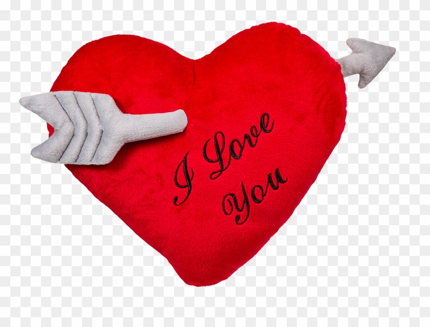 Red Plush Heart With Arrow - Almohada De Corazon Clipart #2740947