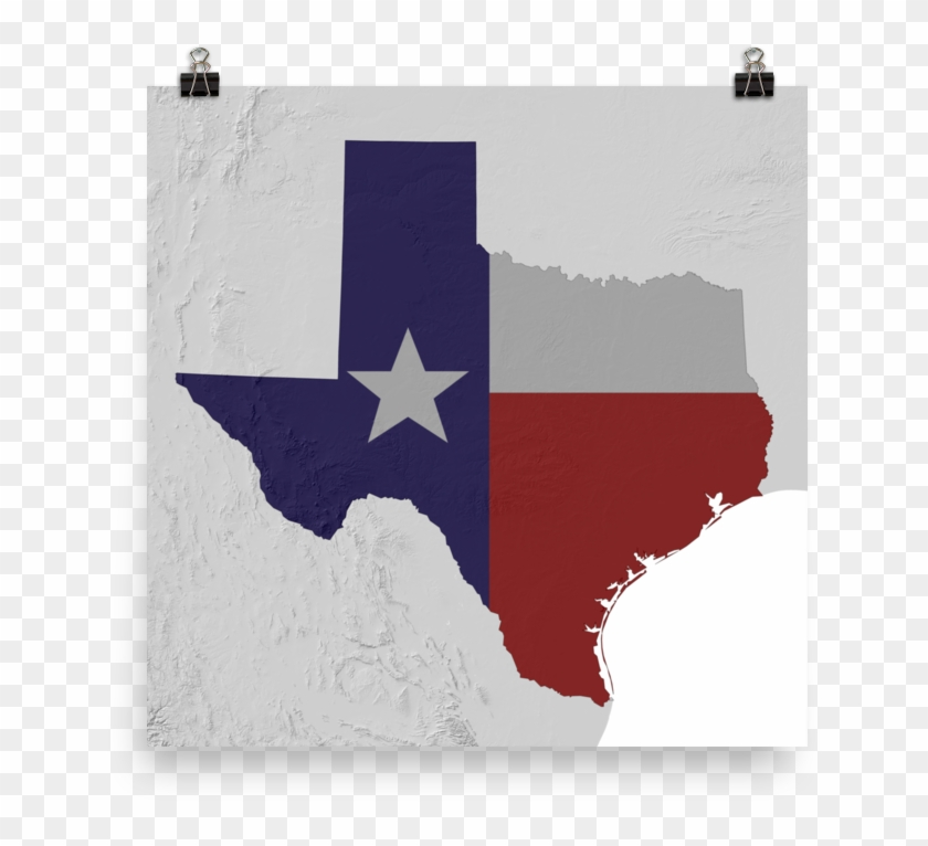Texas Physical Map With State Flag Overlay Poster - Retail Electricity Market Ercot Clipart #2756988