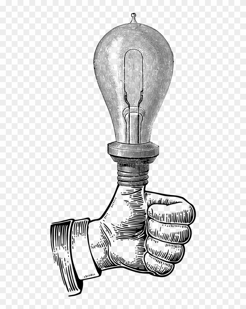 Bulb Drawing Meaningful Thumbs Up Vintage Illustration Clipart 2763327 Pikpng